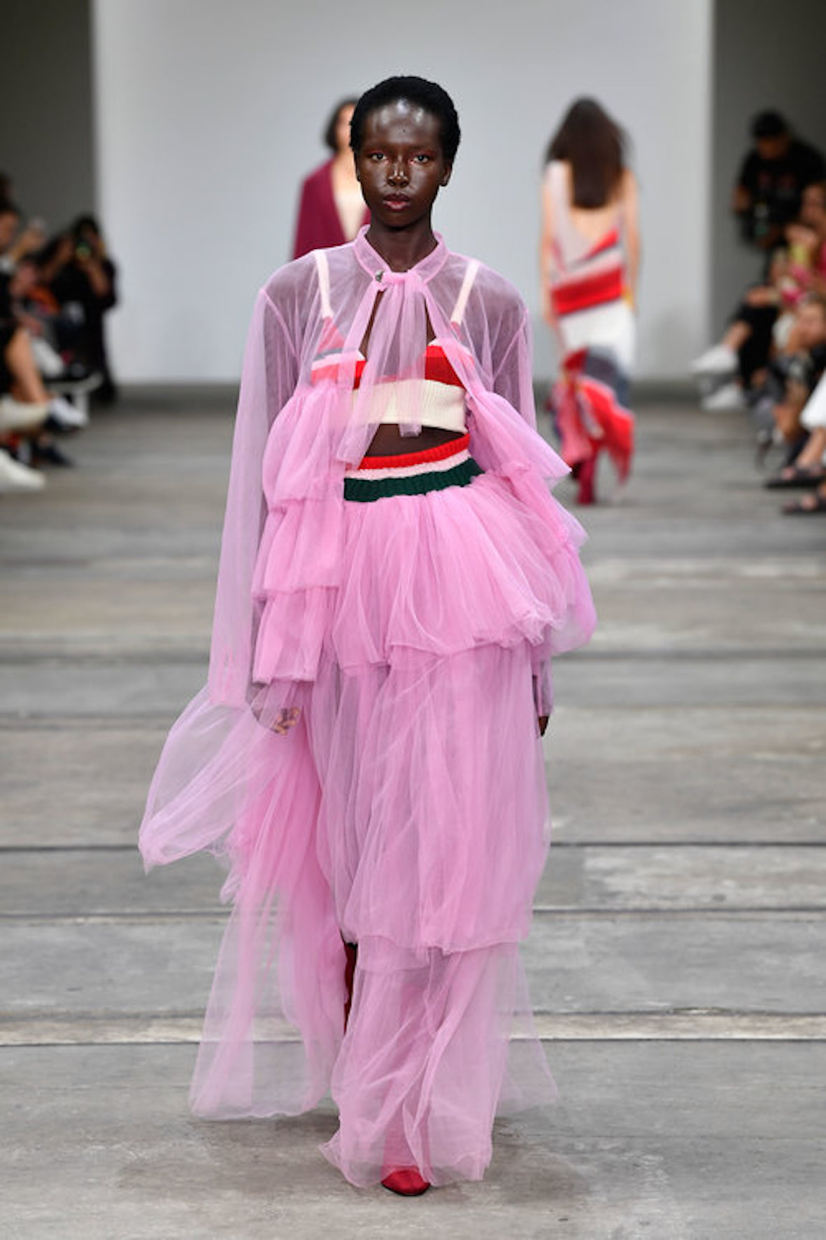 SYDNEY, AUSTRALIA - MAY 16: A model walks the runway in a design by Chloe Mottau during the St.George NextGen show at Mercedes-Benz Fashion Week Resort 20 Collections at Carriageworks on May 16, 2019 in Sydney, Australia. (Photo by Stefan Gosatti/Getty Images)